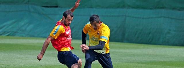 L'entraînement avant Manchester - Fc-Barcelone.com