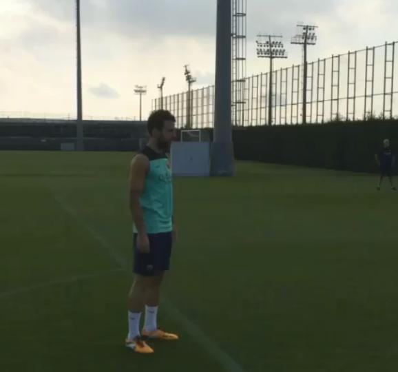 Fabregas s'entraîne aux penaltys - Fc-Barcelone.com