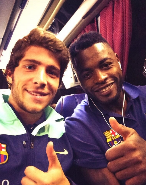 Song et Sergi Roberto dans le bus après la victoire - Fc-Barcelone.com