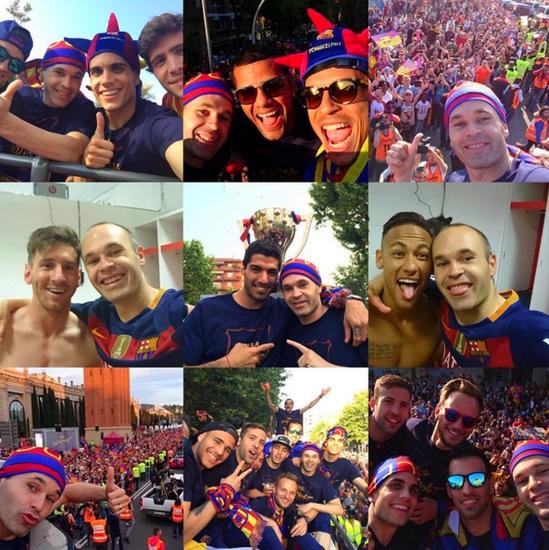 Les joueurs fêtent le titre - Fc-Barcelone.com